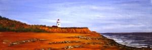 Acrylic painting, Prince Edward Island, Lighthouse, beach, PEI, landscape
