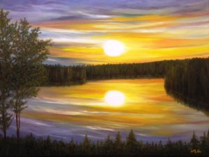 Sunset, commissioned painting, trees, water, sun, sunsetting, landscape, Donna Muller