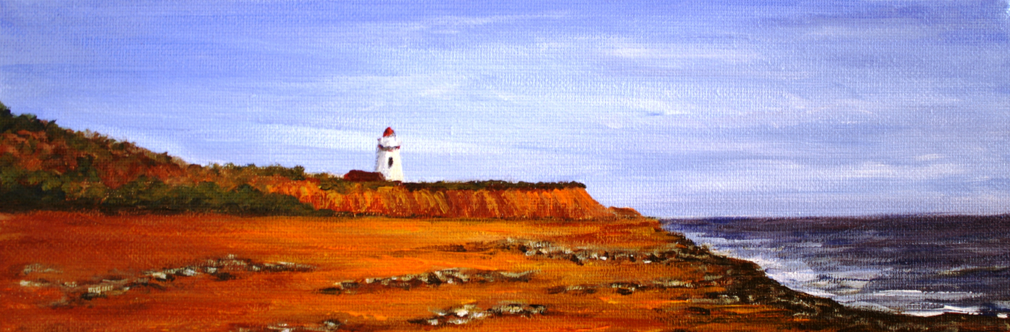 Acrylic painting, Prince Edward Island, Lighthouse, beach, PEI