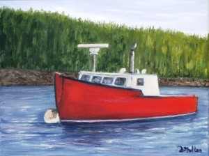 boat, water, trees boat, prospect, Nova Scotia, artist, Donna Muller, Commissioned, Painting