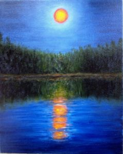 full moon, water, trees, Donna's Cottage Rental, Donna Muller
