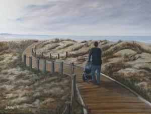 Monterery, California, water, beach, path, sand