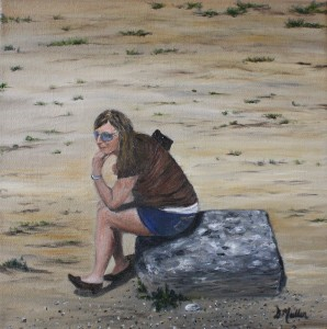 Jody Conrad, Olympia Greece, painted by Donna Muller, thinking, rock