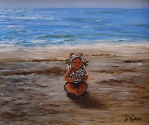Kaycee Muller, Florida, Sanibel Island, painted by Artist Donna Muller, beach, water, ocean, baby, sand, waves