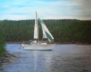 Rita Schwartz, John Schwartz, sailboat, Lori Anne, Shad Bay, Ocean, Nova Scotia Artist Donna Muller