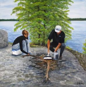 Shorelunch, besnard lake, saskatchewan, landscape, rock, fish fry, painting, water