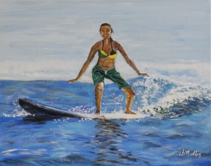 surfing, hawaii, water, wave, acrylic painting, Donna Muller,artist