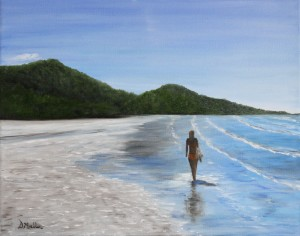 Australia, beach, water, ocean, sand, landscape, painting, Donna Muller