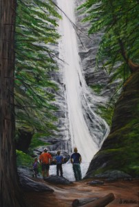 Waterfall, BC, old growth, forest, trees, family