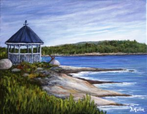 Gazebo, Terence Bay, Nova Scotia, rocks, ocean, water, landscape, path, walking trail