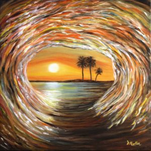 Palm tree, eye of the wave, Donna Muller, brown, wave, moon, oil painting