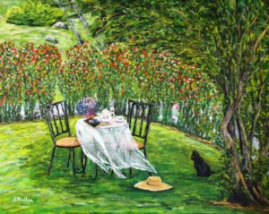 table, front yard, landscape, rose bushes, cat, hat, teapot, book, table cloth, painting