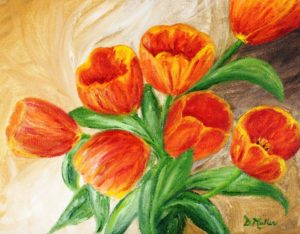 Tulips, painting, flowers