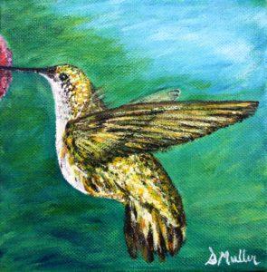 humming bird, nector, small painting