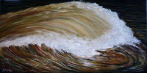 Wave, brown, water, oil painting