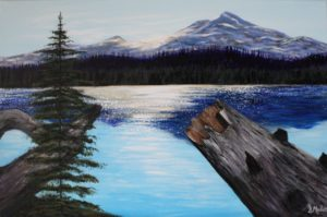 Sunsetting, rockies, mountains, lake, tree, dead tree, reflection, landscape, painting, Donna Muller