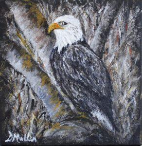 Bald eagle, tree, wildlife, painting