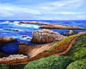 Monterey, California, rocks, ocean, landscape, path, walkway, waves