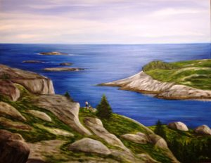 Polly Cove, painting, landscape, ocean, rock, Nova Scotia