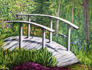 bridge, garden, flowers, bush, trees, acrylic painting, plein air