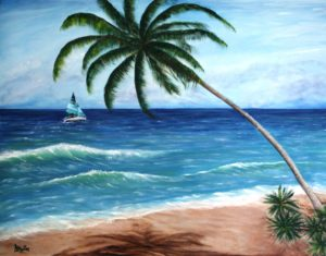 Sailing, palm tree, water, ocean, sand