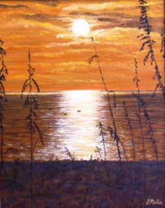 Sanible Island, Florida, Sunset, brown, ocean, water, painting