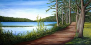 walking trail, Mt Uniacke, Uniacke Estate Museum Park, lake, water, landscape, painting, trees, oil painting, landcape painting, Donna Muller