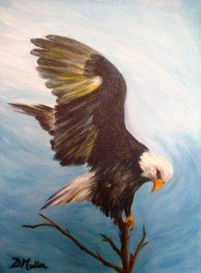 bald eagle, landing eagle, eagle on tree, blue, wildlife, artist Donna Muller
