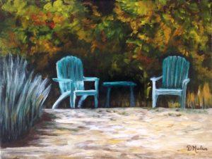 chairs, beach, relaxing, sandy beach, regina beach, buena vista, saskatchewan, trees, acrylic painting