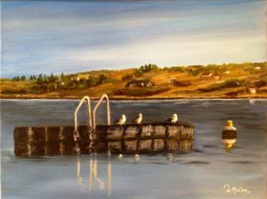 Buena Vista beach, dock, swimming dock, seagulls, float, water, Last Mountain Lake, Saskatchewan, artist Donna Muller