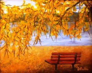 Regina Beach, fall, bench, beach, Saskatchewan, plein air, painting