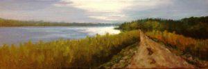 Regina Beach, path, old railway bed, Buena Vista, Artist Donna Muller, water, landscape painting, trees, fall