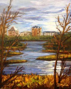 Wascana Lake, Regina, Landscape, painting, plein air, Saskatchewan, trees, water