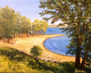 Regina Beach, painting, Donna Muller, Saskatchewan artist, trees, beach, landscape