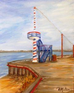 Regina Beach, Barber Pole, Donna Muller, pier, water, Saskatchewan, Last Mountain Lake, painting