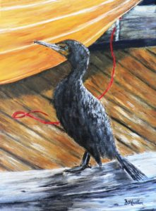 Shag, cormorant, plein air, dock, dory, Lunenburg, Nova Scotia