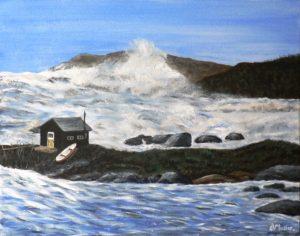 Prospect, Nova Scotia, Canada, storm, Hurrican bill, shack, small boat, waves, rocks, crashing waves