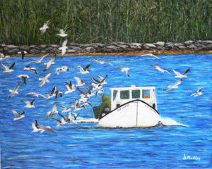 Lobster fishing, seagulls, ocean, Shad Bay, Bayside, Donna's Gallery, rocks, ocean, artist Donna Muller
