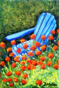 chair, poppies, adirondack chair