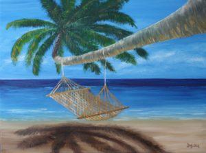 Hammock, artist Donna Muller, palm tree, sand, beach, ocean, blue, water, sunshine, oil painting, landscape
