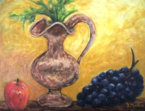 grapes, jug, apple, still life