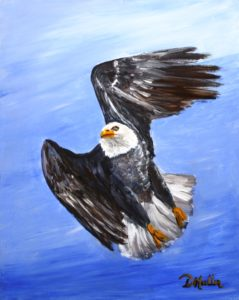 Eagle in Flight, Eagle, bald eagle, wildlife, painting, donna muller