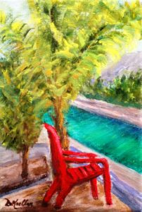 Chair, Florida, Colony Key, palm tree, canal, adirondack, lawn, chairs