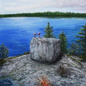 Rock, besnard lake, lake, saskatchewan, water, trees, landscape, wine glasses, blanket, fire, Donna Muller