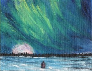 Aurora, Northern Lights, snow, sky, night, trees, landscape, cold