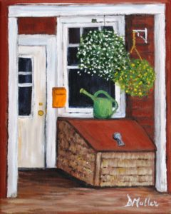 Welcome, Annapolis Royal, Nova Scotia, doorway, watering can, flowers, rental, plein air, paint the town annapolis royal