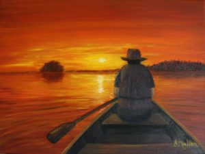 Canoe, sunset, orange, lake, water