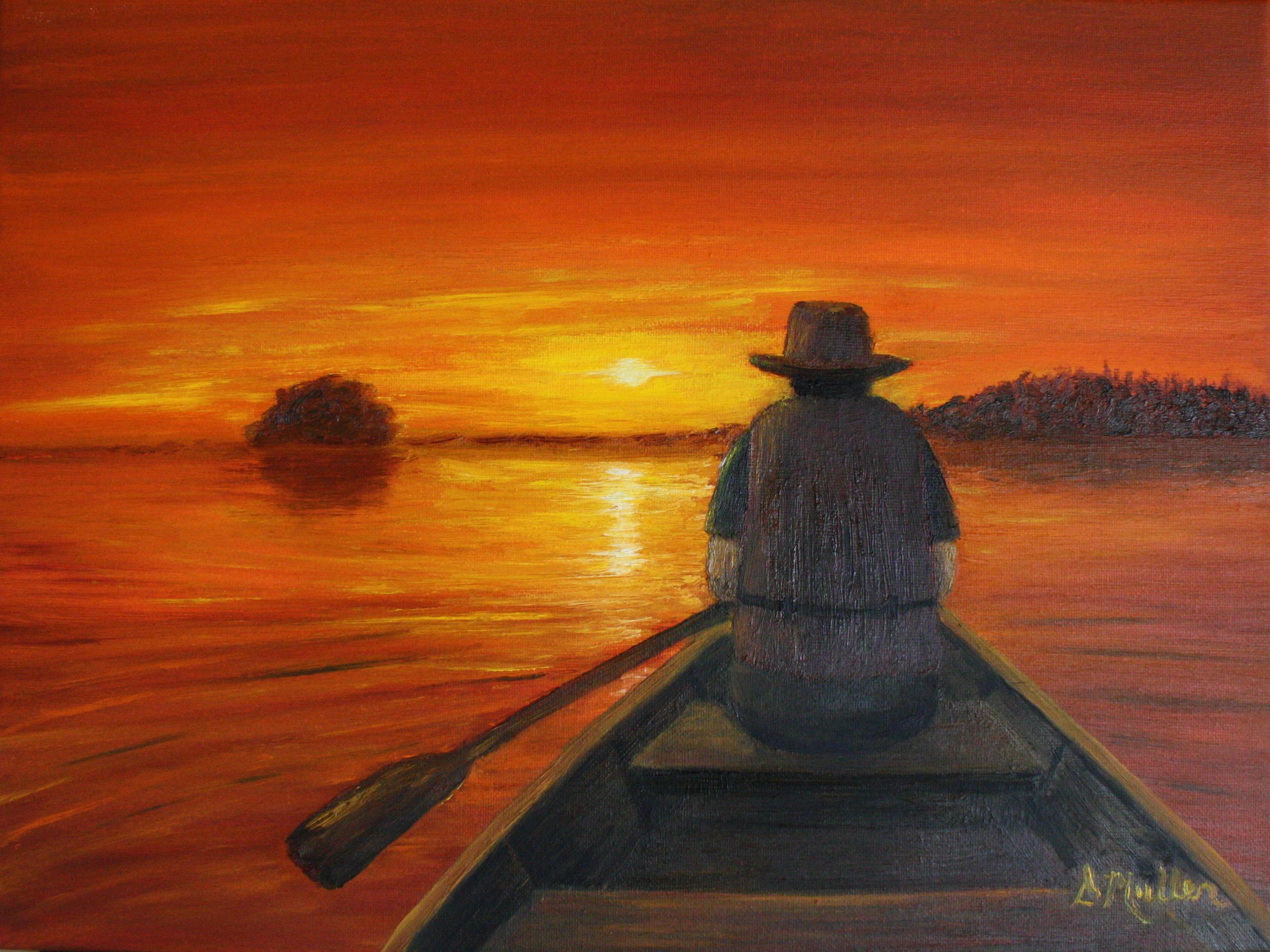 Canoe, sunset