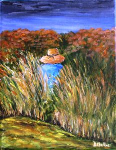 Peggy's Cove, walking trail, grass, Nova Scotia, hat