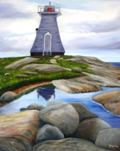 Terence Bay, lighthouse, water, rocks, Atlantic, Nova Scotia,